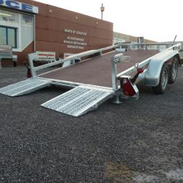 Remorque porte nacelle basculant 2 essieux freinés construction vsn